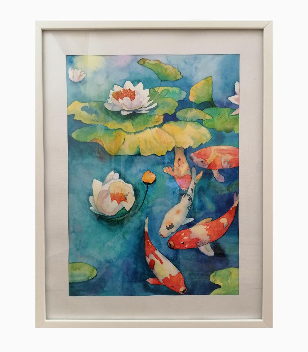 نقاشی ماهی ها در مرداب